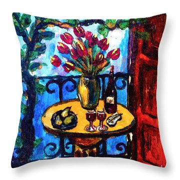 Tulips Wine And Pears Throw Pillow