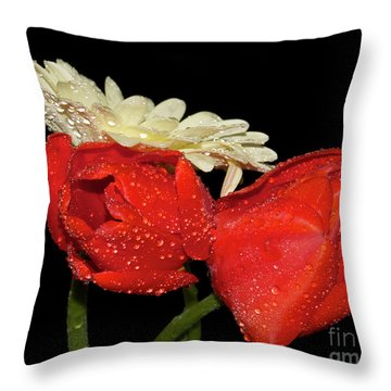 Throw Pillow featuring the photograph Tulips With Gerber by Elvira Ladocki