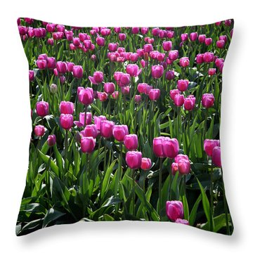 Throw Pillow featuring the photograph Purple Tulips by Peter Simmons