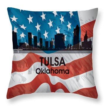 Tulsa Ok American Flag Squared Throw Pillow