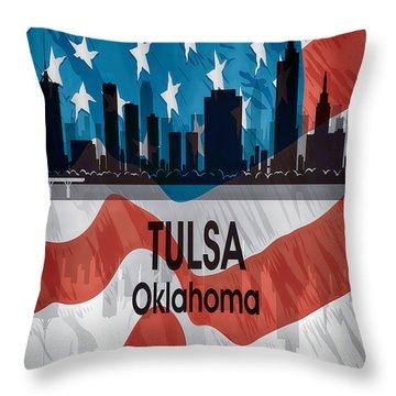 Tulsa Ok American Flag Vertical Throw Pillow