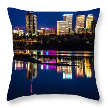 Tulsa Skyline At Twilight Throw Pillow