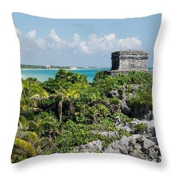 Tulum Jungle Ruins Throw Pillow