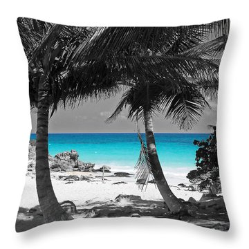 Throw Pillow featuring the digital art Tulum Mexico Beach Color Splash Black And White by Shawn O'Brien