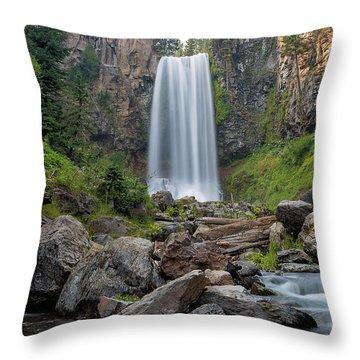 Tumalo Falls Closeup Throw Pillow by David Gn