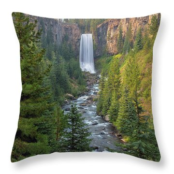 Tumalo Falls In Bend Oregon Throw Pillow by David Gn