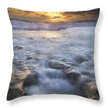 Tumbling Surf Throw Pillow by Debra and Dave Vanderlaan
