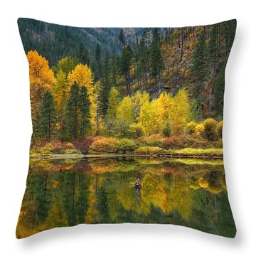Tumwater Reflections Throw Pillow by Lynn Hopwood