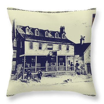 Tun Tavern - Birthplace Of The Marine Corps Throw Pillow by Bill Cannon