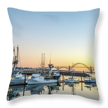 Tuna Boats Resting For The Night Throw Pillow