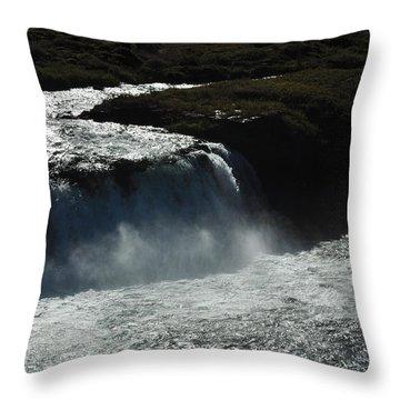 Tungufljot River And Faxi Falls Throw Pillow by David Halperin