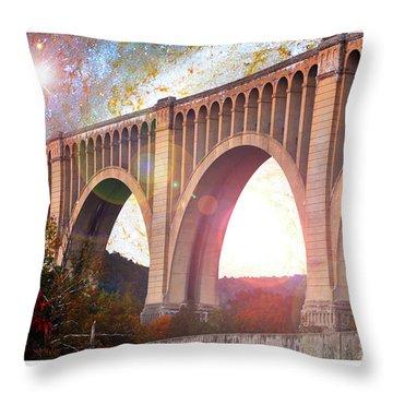 Tunkhannock Viaduct, Nicholson Bridge, Starry Night Fantasy Throw Pillow