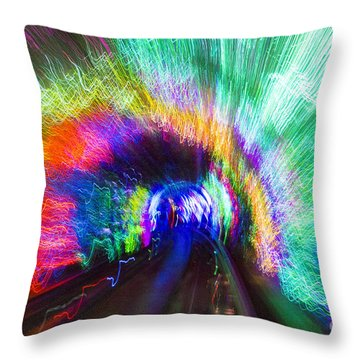 Throw Pillow featuring the photograph Tunnel Lights by Angela DeFrias