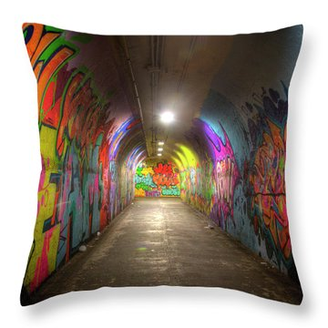 Tunnel Of Graffiti Throw Pillow by Mark Andrew Thomas