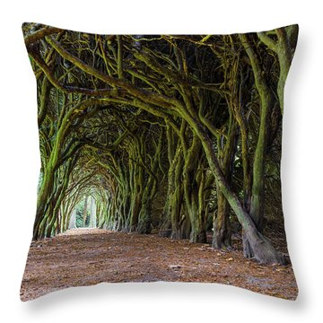 Throw Pillow featuring the photograph Tunnel Of Intertwined Yew Trees by Semmick Photo