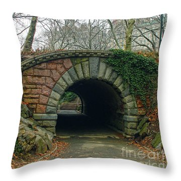 Tunnel On Pathway Throw Pillow by Sandy Moulder