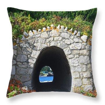Tunnel To The Sea Newport Ri Cliff Walk Throw Pillow