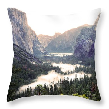 Tunnel View At Dawn In Yosemite National Park Throw Pillow by MaryJane Armstrong
