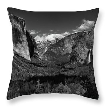 Tunnel View Black And White  Throw Pillow