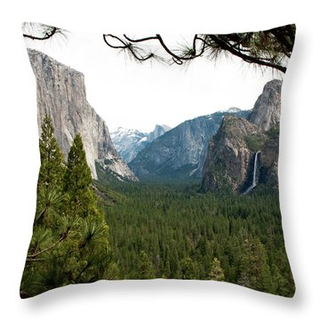 Tunnel View Framed Throw Pillow by Lorraine Devon Wilke
