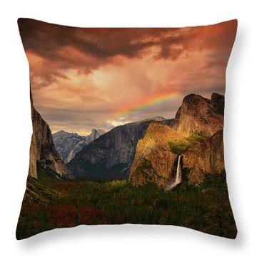 Tunnel View Rainbow Throw Pillow