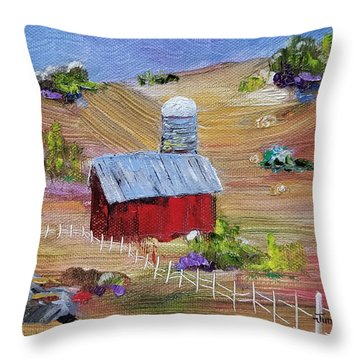 Throw Pillow featuring the painting Tunkhannock Farm by Judith Rhue