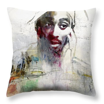 Tupac Graffitti 2656 Throw Pillow by Jani Heinonen