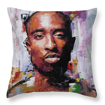 Tupac Throw Pillow by Richard Day