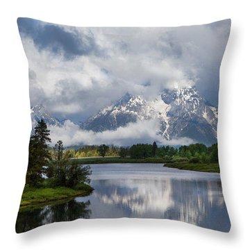 Turbulent Tetons Throw Pillow
