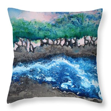 Turbulent Waters Throw Pillow by Antonio Romero