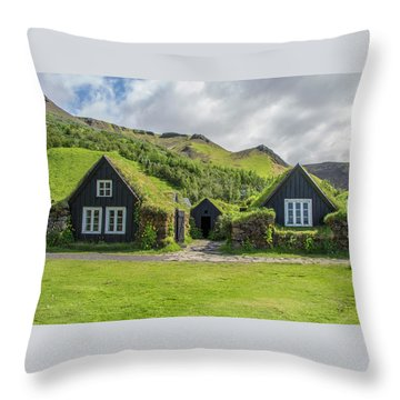 Turf Roof Houses And Shed, Skogar, Iceland Throw Pillow