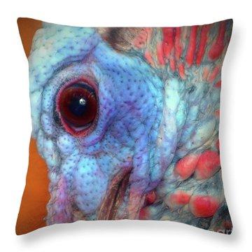 Turkey Head Shot Throw Pillow by Kim Pate