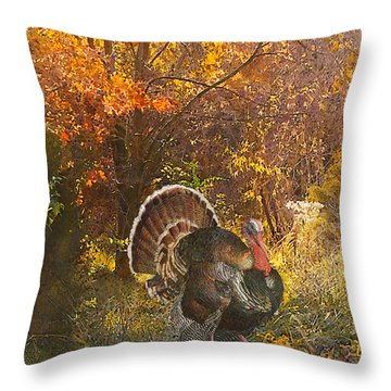 Turkey In The Woods Throw Pillow