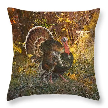 Throw Pillow featuring the painting Turkey In The Woods by John Dyess