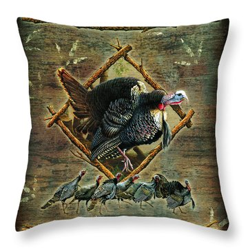 Turkey Lodge Throw Pillow