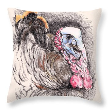Turkey Tom Throw Pillow by MM Anderson