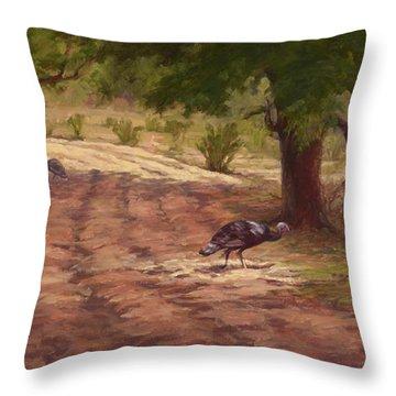 Turkey Tracks Throw Pillow by Jane Thorpe