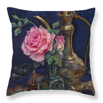 Turkish Rose Throw Pillow