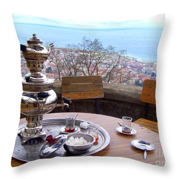 Turkish Tea On The Black Sea Throw Pillow by Lou Ann Bagnall