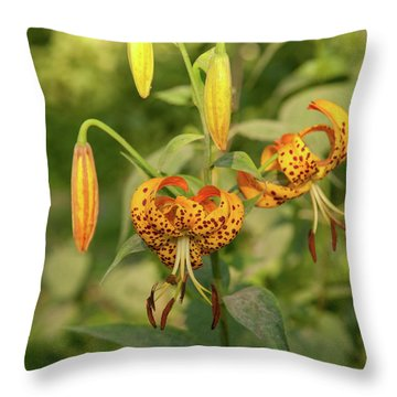 Throw Pillow featuring the photograph Turk's Cap Lilies 2 by Lara Ellis