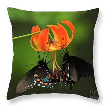 Turks Cap Lilly And Butterflies, Blue Ridge Parkway Throw Pillow