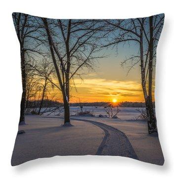 Turn Left At The Sunset Throw Pillow by Randy Scherkenbach