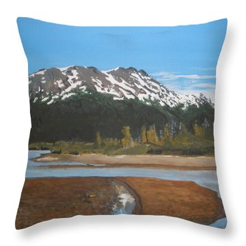 Throw Pillow featuring the painting Turnagain Arm Alaska by Betty-Anne McDonald