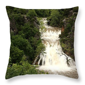Turner Falls Waterfall Throw Pillow