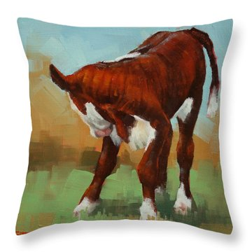 Turning Calf Throw Pillow