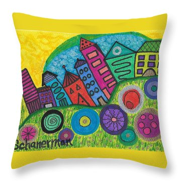 Turning Funky City On Its Ear Throw Pillow