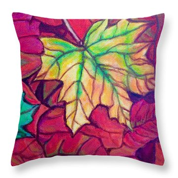 Throw Pillow featuring the painting Turning Maple Leaf In The Fall by Kimberlee Baxter