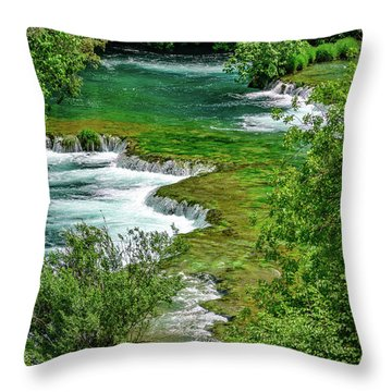 Turqouise Waterfalls Of Skradinski Buk At Krka National Park In Croatia Throw Pillow