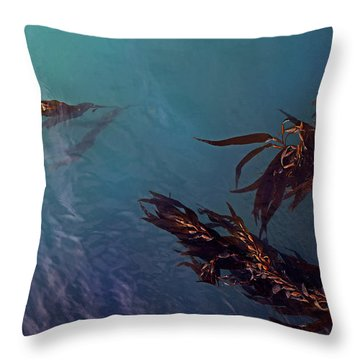 Turquoise Current And Seaweed Throw Pillow by Nareeta Martin