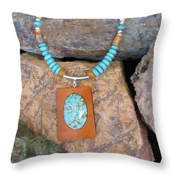 Turquoise #8 In Gourd Wood #r112 Throw Pillow by Barbara Prestridge